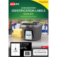AVERY 959243 ULTRA-RESISTANT OUTDOOR LABELS 99.1 X 67.7MM WHITE PACK 10