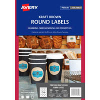 AVERY 980002 L7106 LABELS PRINT-TO-THE-EDGE ROUND 12 UP KRAFT BROWN PACK 180