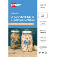 AVERY AE9004 AE9004 PRINTABLE ORGANISATION AND STORAGE LABELS 66 X 44MM TEXTURED WHITE PACK 40