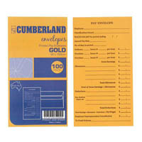 CUMBERLAND ENVELOPES 12-3/4 POCKET PRE-PRINTED PAY SELF SEAL 85GSM 90 X 165 GOLD PACK 100