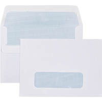 CUMBERLAND C6 ENVELOPES WINDOW SECRETIVE SELF SEAL 80GSM 114 X 162MM WHITE BOX 500