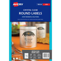 AVERY 980030 L7093 EVENT LABELS ROUND CLEAR 60MM 12UP PACK 10