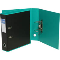 BANTEX DUET LEVER ARCH FILE 70MM A4 BLACK AND TURQUOISE