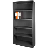 STEELCO OPEN BOOKCASE 4 SHELVES 2000 X 900 X 400MM GRAPHITE RIPPLE