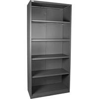 STEELCO OPEN BOOKCASE 4 SHELVES 2000 X 900 X 400MM SILVER GREY