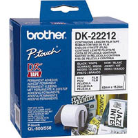 BROTHER DK-22212 CONTINUOUS FILM LABEL ROLL 62MM X 15.24M WHITE