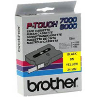 BROTHER TX-651 LAMINATED LABELLING TAPE 24MM BLACK ON YELLOW