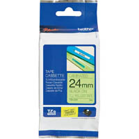 BROTHER TZE-C51 LAMINATED LABELLING TAPE 24MM BLACK ON FLURO YELLOW
