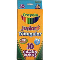 CRAYOLA JUNIOR TRIANGULAR COLOURED PENCILS 4MM PACK 10