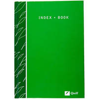 QUILL HARDCOVER INDEX BOOK 160 PAGE 70GSM 120 X 188MM GREEN