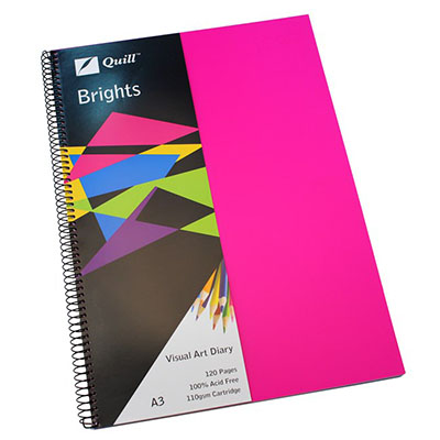 Image for QUILL VISUAL ART DIARY 110GSM 120 PAGE A3 PP CERISE PINK from Wetherill Park / Smithfield Office National