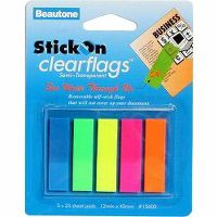 STICK ON CLEARFLAGS 25 SHEETS 12 X 45MM ASSORTED PACK 5