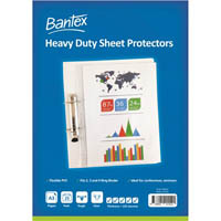 BANTEX HEAVY DUTY SHEET PROTECTORS 125 MICRON A3 CLEAR PACK 25
