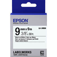 EPSON LABELWORKS LK TAPE 9MM X 9M BLACK ON WHITE