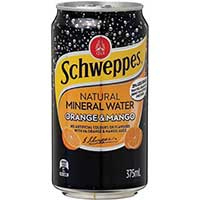 SCHWEPPES ORANGE AND MANGO MINERAL WATER CAN 375ML CARTON 24