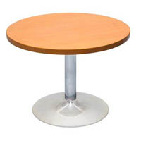 RAPIDLINE ROUND TABLE 600MM CHROME BASE BEECH/IRONSTONE TOP