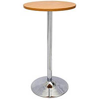 RAPIDLINE CHROME BASE DRY BAR ROUND TABLE 1075 X 600MM CHERRY