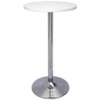 RAPIDLINE CHROME BASE DRY BAR ROUND TABLE 1075 X 600MM WHITE