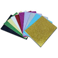 COLORIFIC PEEL AND STICK GLITTER FOAM SHEETS ASSORTED COLOURS 250 X 145MM PACK 10
