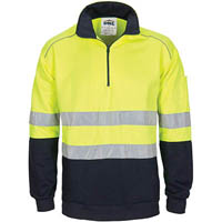 DNC HIVIS 42767 ZIP FLEECY JUMPER WITH HOOP PATTERN CSR REFLECTIVE TAPE 2-TONE FLUORO YELLOW/NAVY EXTRA SMALL