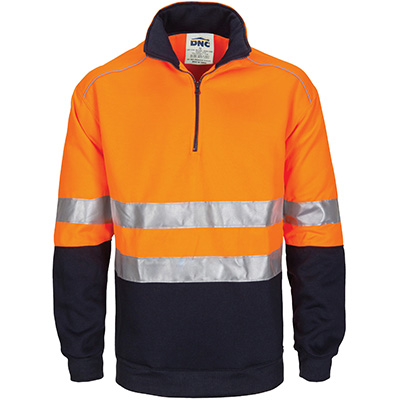 DNC HIVIS 42767 ZIP FLEECY JUMPER WITH HOOP PATTERN CSR REFLECTIVE TAPE 2-TONE FLUORO ORANGE/NAVY MEDIUM