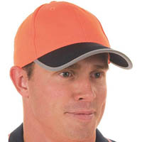 DNC HIVIS CAP WITH REFLECTIVE TRIM AND HOOK N LOOP STRAP 2 TONE