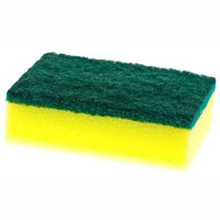 CLEANLINK SPONGE WITH SCOURER 100 X 70MM YELLOW/GREEN PACK 6