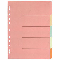 OLYMPIC DIVIDER 5-TAB A4 PASTEL ASSORTED