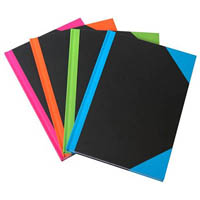 BLACK AND RED NOTEBOOK CASEBOUND RULED 192 LEAF A4 ASSORTED CORNERS
