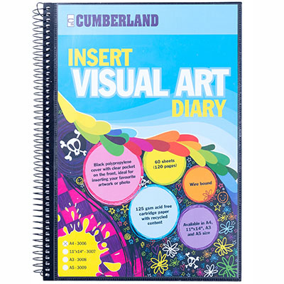 CUMBERLAND VISUAL ART DIARY WITH INSERT COVER SINGLE SPIRAL A4 BLACK