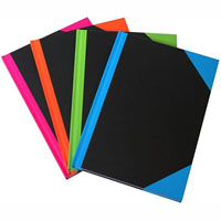 BLACK AND RED NOTEBOOK CASEBOUND RULED A-Z INDEX 192 LEAF A4 ASSORTED CORNERS