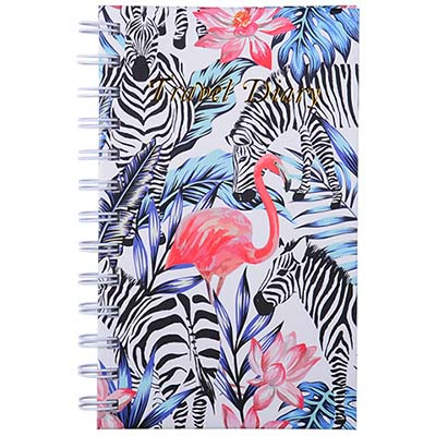 Image for CUMBERLAND FLAMINGO / ZEBRA TRAVEL DIARY SPIRAL 170 X 105MM 72 LEAF from Office National Sydney Stationery