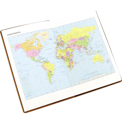 Image for CUMBERLAND TRAVEL DIARY GLOBE DESIGN WITH CLEAR PVC COVER 150 X 95MM from Office National Sydney Stationery