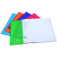 CUMBERLAND PREMIUM BOOK COVERS PVC WITH POCKET 9 X 7 INCH CLEAR ASSORTED PACK 5