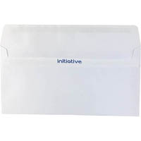 INITIATIVE DL ENVELOPES PLAIN FACE SELF SEAL 110 X 220MM WHITE BOX 500