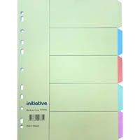 INITIATIVE DIVIDERS MANILLA 5 TAB A4 PASTEL COLOURS