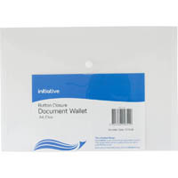 INITIATIVE DOCUMENT WALLET WITH BUTTON A4 CLEAR