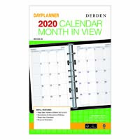 DEBDEN 2020 DAYPLANNER DESK EDITION REFILL MONTH TO VIEW A5