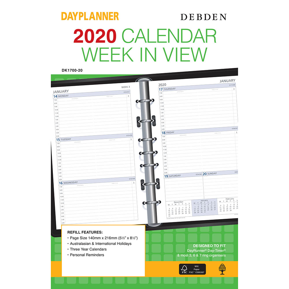 Debden 2019 Desk Dayplanner Refill Week To View Office National