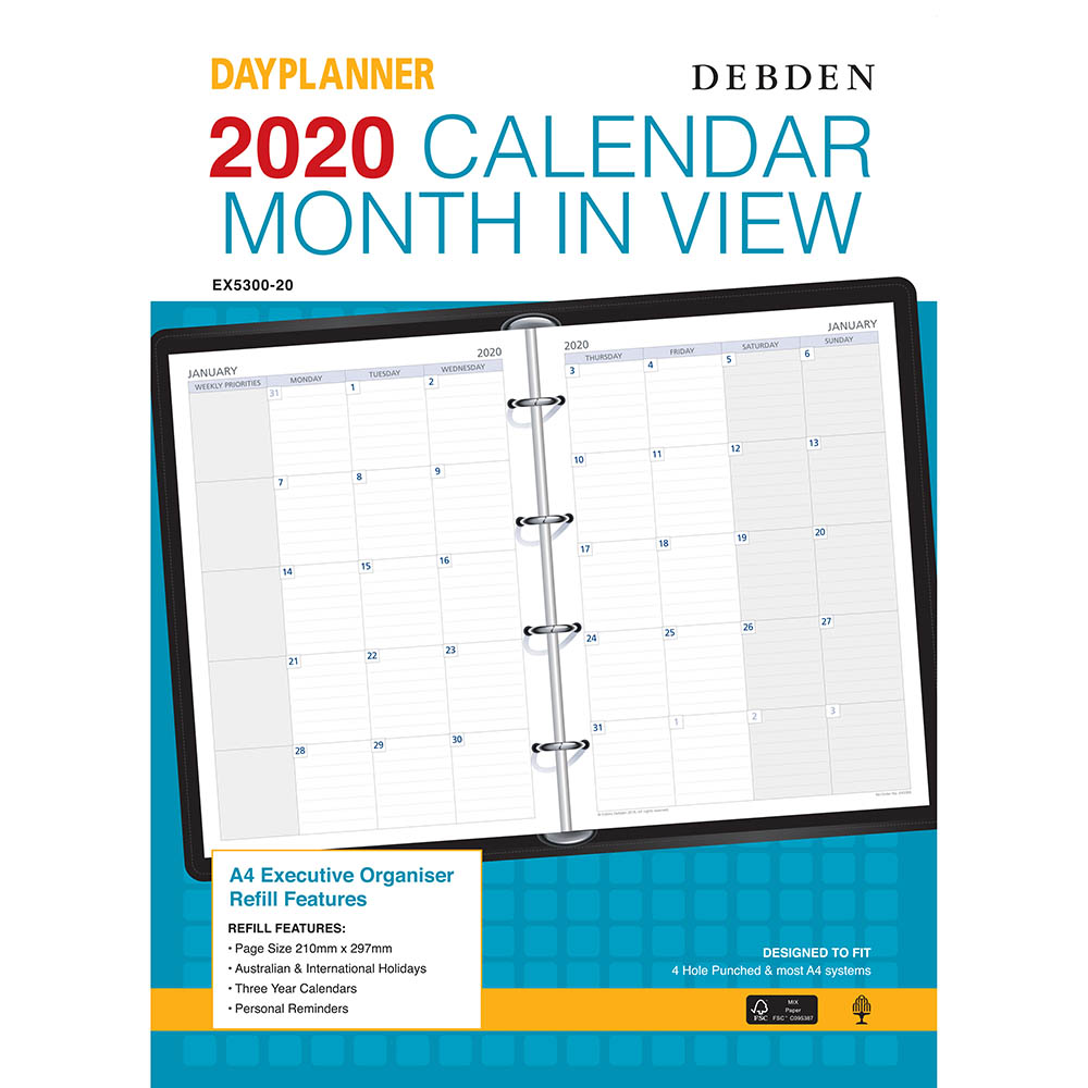 Image for DEBDEN 2020 DAYPLANNER EXECUTIVE EDITION REFILL MONTH TO VIEW from Office National Perth CBD