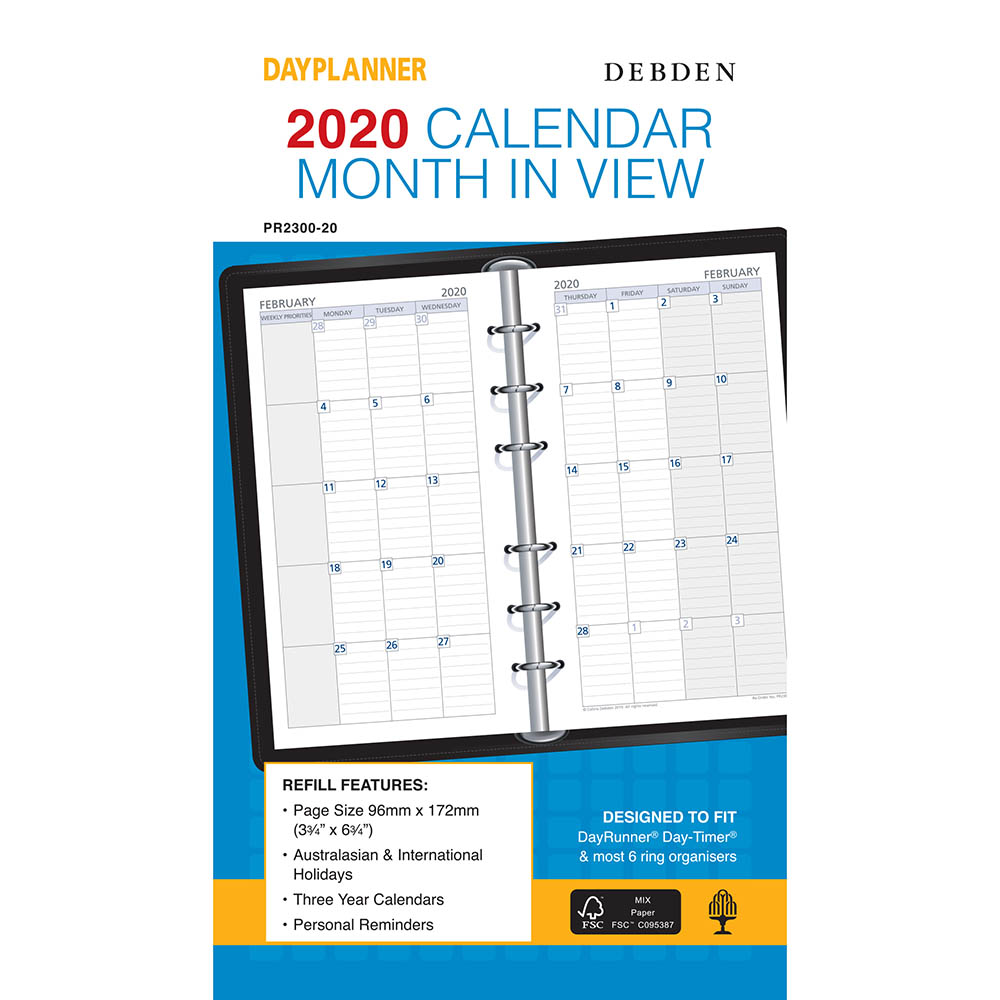 Image for DEBDEN 2020 DAYPLANNER PERSONAL EDITION REFILL MONTH TO VIEW from Office National Perth CBD