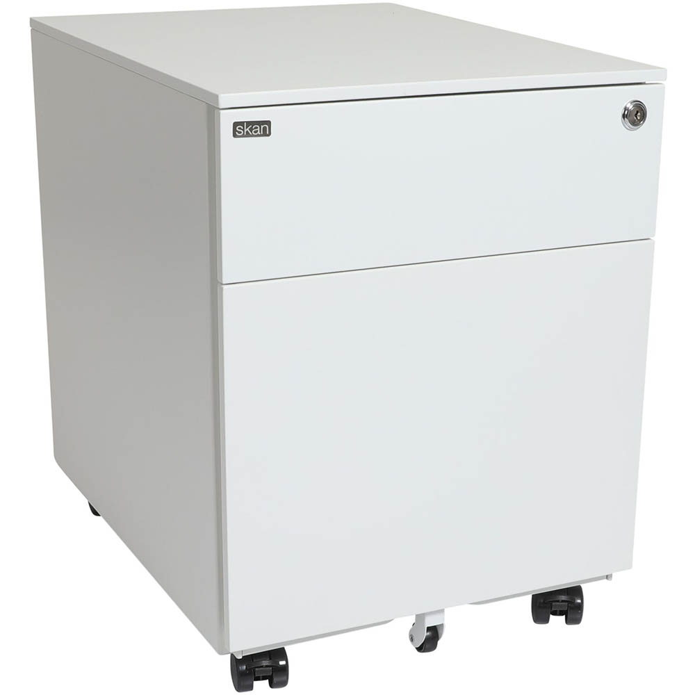 SKAN SIT-STAND MOBILE PEDESTAL 1 SHALLOW AND 1 FILE DRAWER 510 X 520 X 390MM WHITE POWDERCOAT