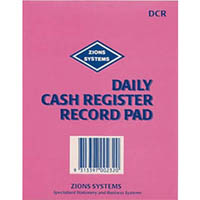 ZIONS DCR DAILY CASH REGISTER RECORD PAD