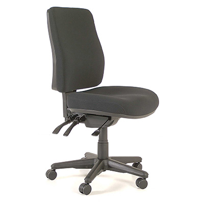 Image for BURO ROMA OFFICE CHAIR HIGH BACK 3-LEVER JETT FABRIC BLACK from Office National Sydney Stationery