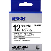 EPSON LABELWORKS LK TAPE 12MM X 9M BLACK ON CLEAR