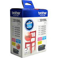 BROTHER LC3319XL3PK INK CARTRIDGE COLOUR PACK HIGH YIELD 1500 PAGES CYAN MAGENTA YELLOW