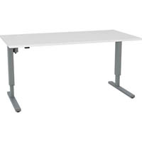 ESSENTIALS ELECTRIC HEIGHT ADJUSTBLE DESK SILVER FRAME WITH TOP 1500 X 800 WHITE MELAMINE
