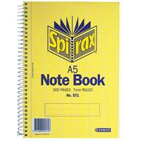 SPIRAX 571 NOTEBOOK 7MM RULED SPIRAL BOUND 300 PAGE A5