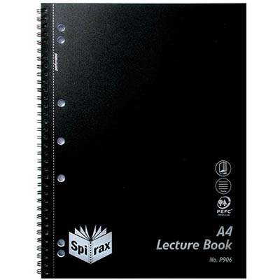 Image for SPIRAX P906 LECTURE BOOK 7MM RULED 7 HOLE PUNCHED WIRO BOUND A4 BLACK from Office National Perth CBD