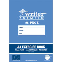 WRITER PREMIUM EXERCISE BOOK FEINT RULED 8MM 70GSM 96 PAGE A4